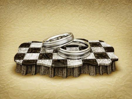 bodas de plata: anillos de plata en un podio a cuadros aislados
