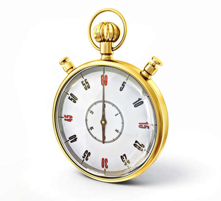 golden stopwatch isolated on a white background photo