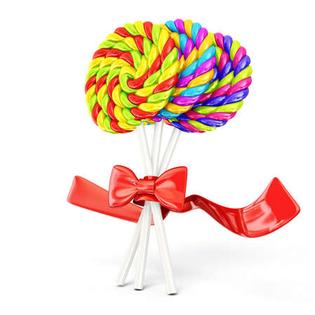 colorful lollipops isolated on a white background photo