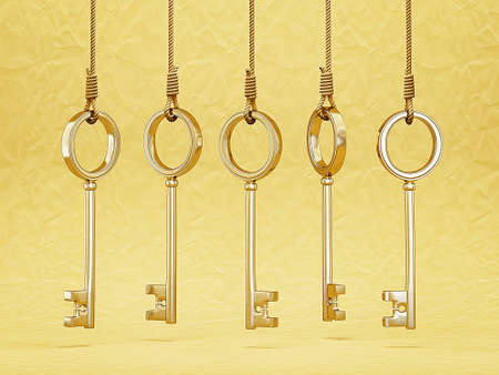 side keys: gold keys hang on a rope isolated Stock Photo