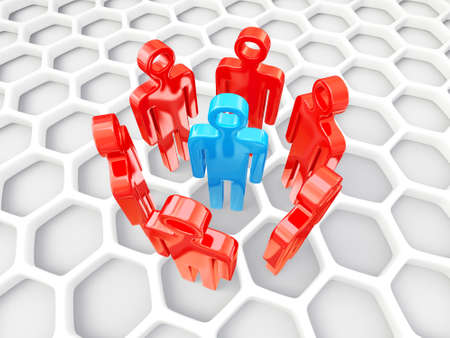organized group: 3d peoples isolated on a white background