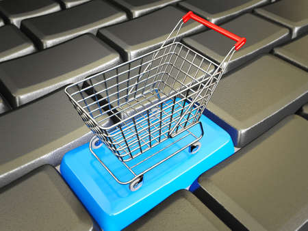 decoratiion: conceptual trolley stay in a black keys Stock Photo