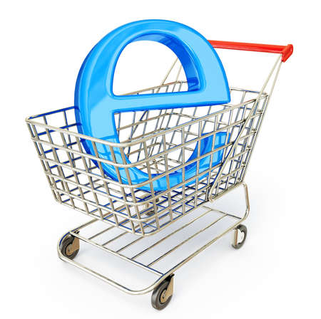 e commerce icon: e-commerce sign in a trolley on a white Stock Photo