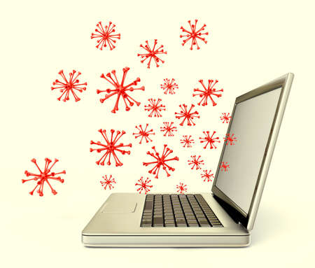 ciber virus in a laptop isolated on a white photo