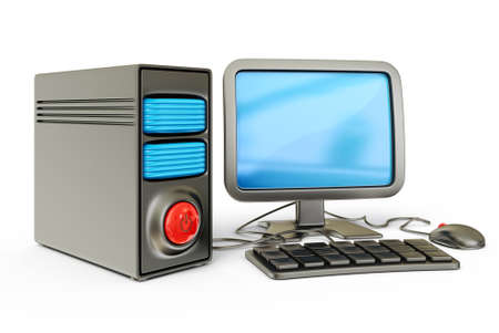 decoratiion: desktop computer isolated on a white background