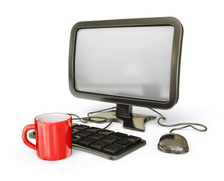 decoratiion: black computer with a red cup isolated