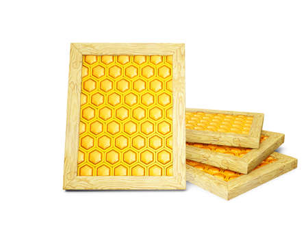 fresh honeycomb isolated on a white background photo