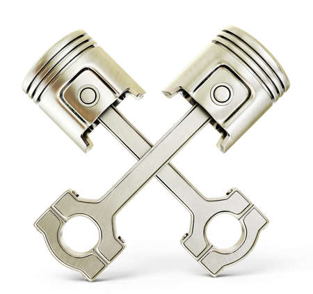rod sign: two pistons isolated on a white background