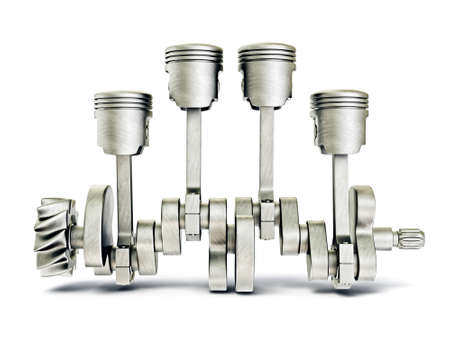 pistons: steel pistons isolated on a white background Stock Photo