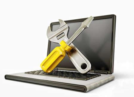 ondersteunen ondertekenen op de laptop. bekrast wand Stockfoto