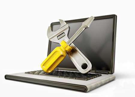 computer service: unterst�tzt Anmeldung auf dem Laptop. zerkratzte Wand Lizenzfreie Bilder
