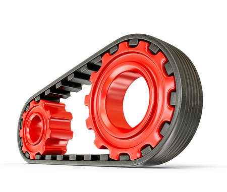 automobile mechanic: red gears with black belt on a white