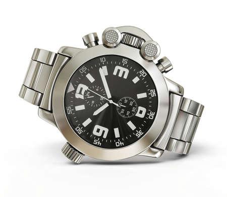 cronógrafo: reloj de lujo aislado en un fondo blanco Foto de archivo
