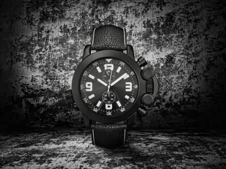 wall watch: luxury watch isolated on a dark  background Stock Photo