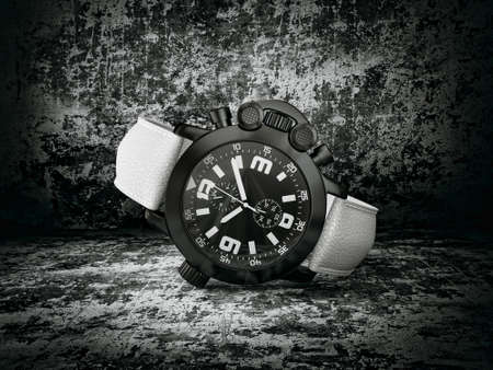 macro: luxury watch isolated on a darck background