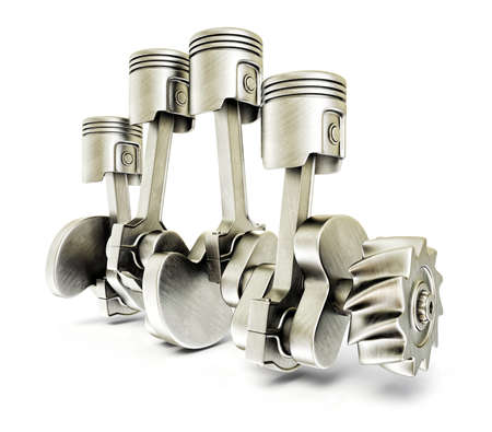 fuel truck: steel pistons isolated on a white background Stock Photo