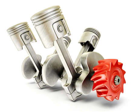 steel pistons isolated on a white background Stock Photo