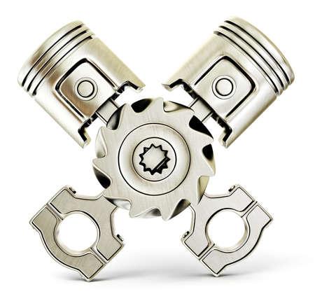 gear  speed: due pistoni isolati su uno sfondo bianco Archivio Fotografico