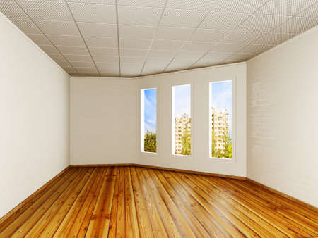 decoratiion: empty room with a white walls and three windows