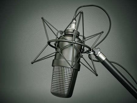 radio microphone: studio microphone isolated on a dark  background