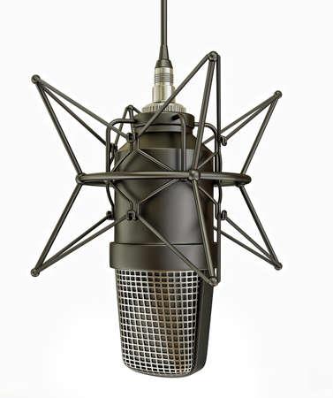 microfono de radio: micrófono de estudio aislado en un fondo blanco
