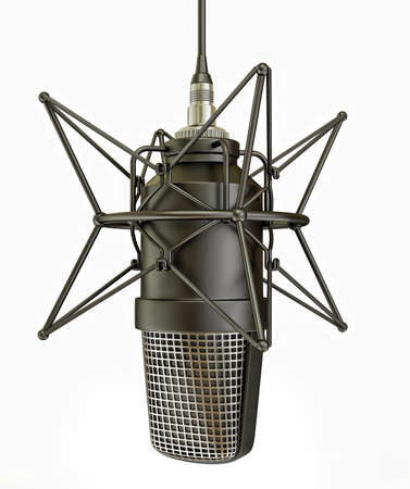 sound recording equipment: studio microphone isolated on a white background