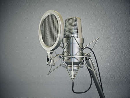 microfono de radio: micrófono de estudio aislado sobre un fondo gris