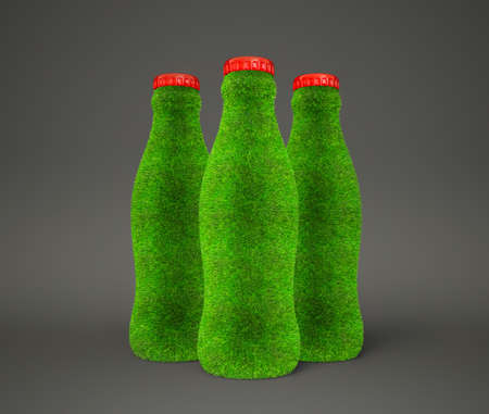 decoratiion: bottle grass isolated on a  gray background