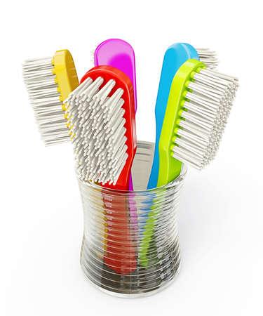 toothbrushs color�s isol�s sur un fond blanc Banque d'images