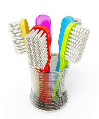 pasta dental: toothbrushs colores aislados sobre un fondo blanco Foto de archivo