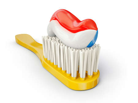 chewing: yellow toothbrush isolated on a white background