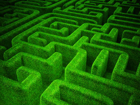labyrinth: green grass  maze background. horizontal 3d  image