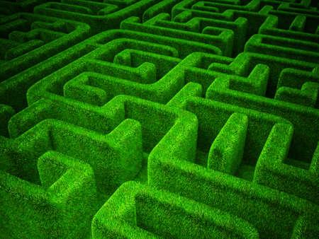 groene gras doolhof achtergrond. horizontaal 3d beeld