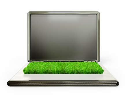decoratiion: slim laptop isolated on a white background
