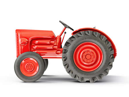 vintage tractor isolated on a white  background photo