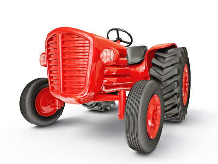 farm tractors: vintage tractor isolated on a white  background