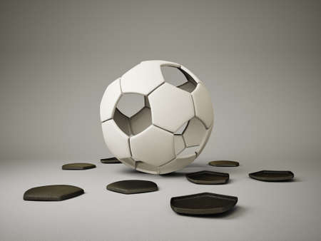 footie: conceptual  football ball isolated on a grey