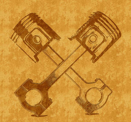piston rod: two pistons isolated on a yellow background Stock Photo