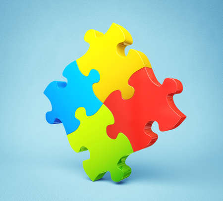 conceptual puzzle isolated on a blue background photo