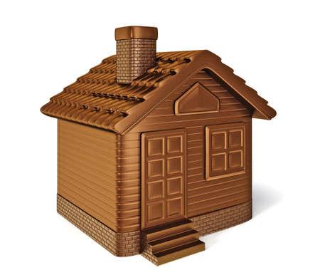 arquitecto caricatura: casa de chocolate aisladas sobre fondo blanco