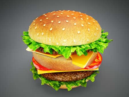 american food: big tasty hamburger isolated on a black  background