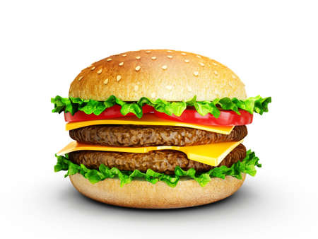 cheeseburger: big tasty hamburger isolated on a white background