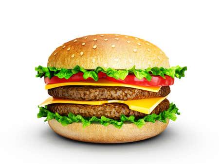 hamburguesa: sabrosa hamburguesa grande aislada en un fondo blanco