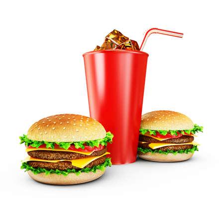 cheeseburger: big tasty hamburgers isolated on a white background