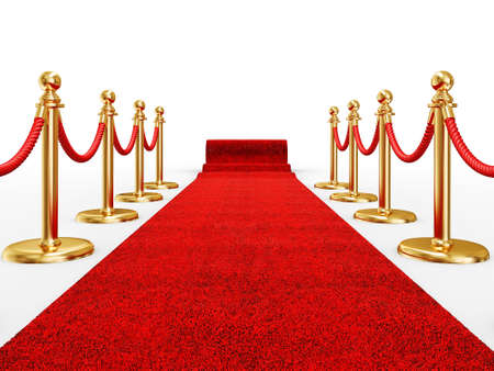 red event carpet isolated on a white background photo
