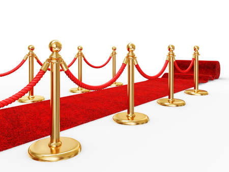 red carpet background: red event carpet isolated on a white background Stock Photo