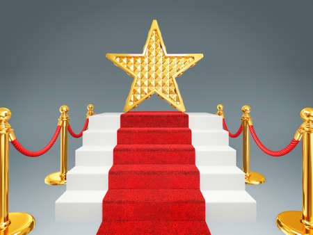 red carpet event: gold star on a red carpet. 3d image