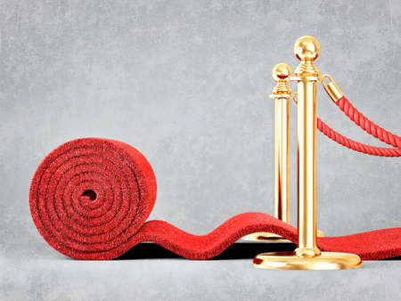 red event carpet isolated on a grey background Stock Photo