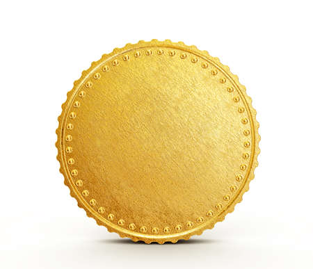 golden coins: conceptual coin isolated on a white background Stock Photo