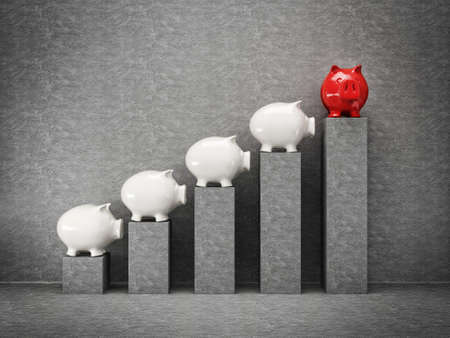 grow money: conceptual piggy graph isolated on a grey Stock Photo